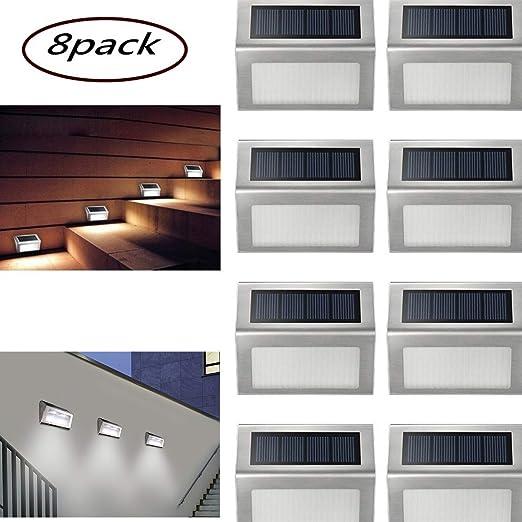 Louvra Led Exterior Lámpara Solar Luz de Escalera 16 Led 8 Piezas, Blanco Frío: Amazon.es: Iluminación