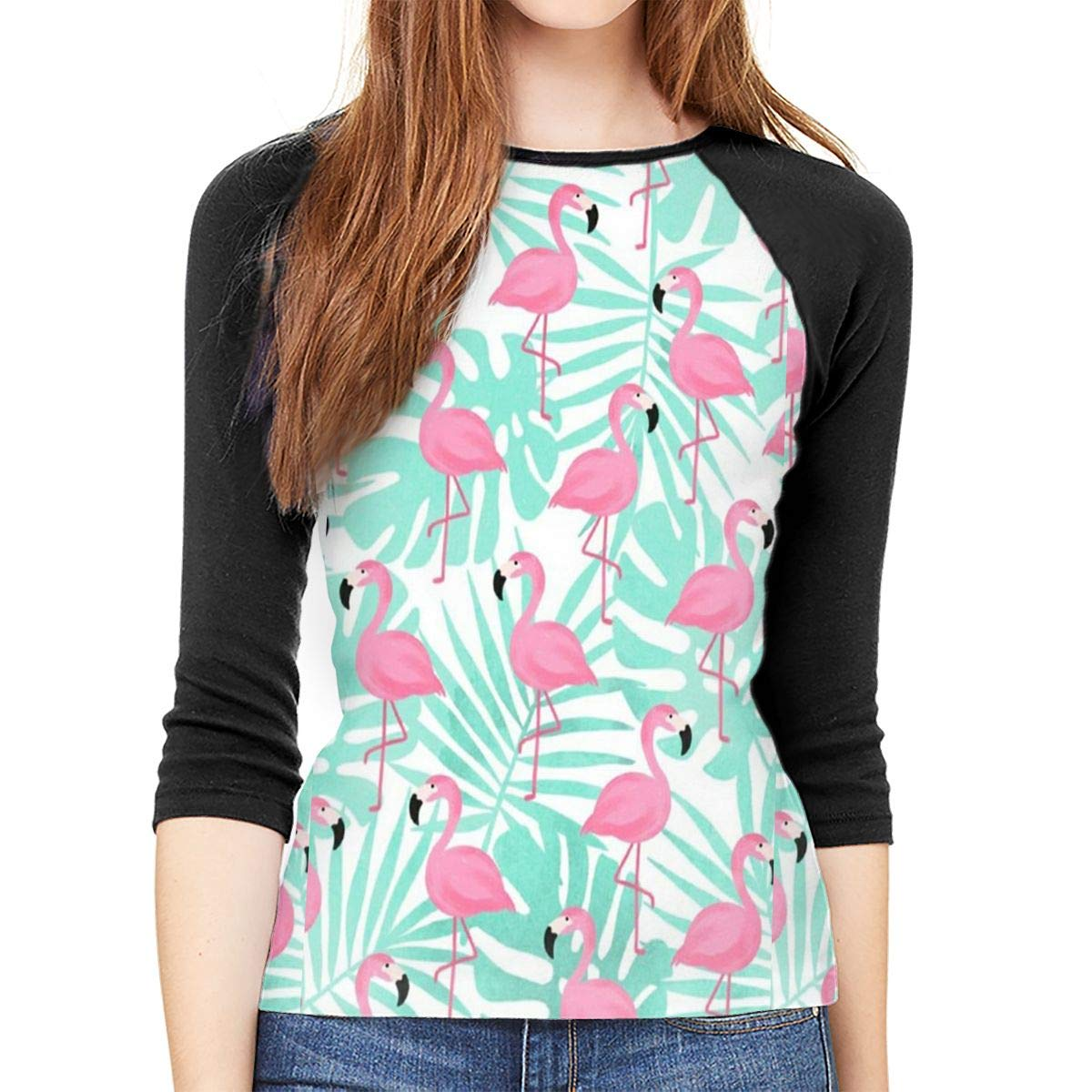 SHDFhgHGF Pink Flamingos Womens 3//4 Sleeve Casual Scoop Neck Tops Tee
