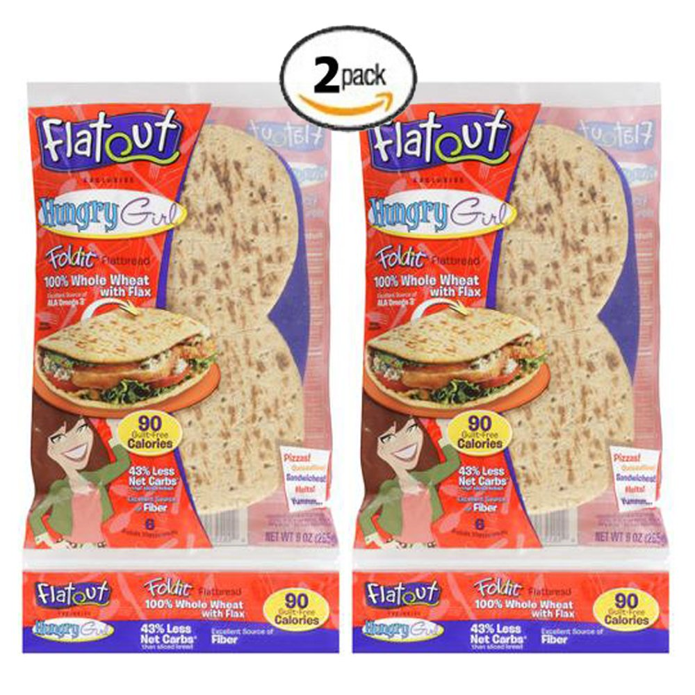 Flatout Hungry Girl Foldit Flatbread 100% Whole Wheat with Flax (2 Pack)