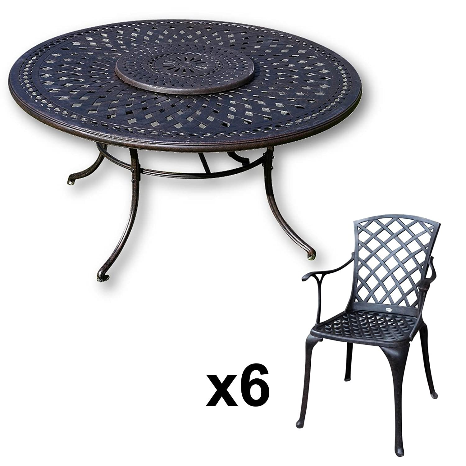 lazy susan frances 150 cm runder gartentisch mit 6 st hlen gartenm bel set aus metall antik. Black Bedroom Furniture Sets. Home Design Ideas