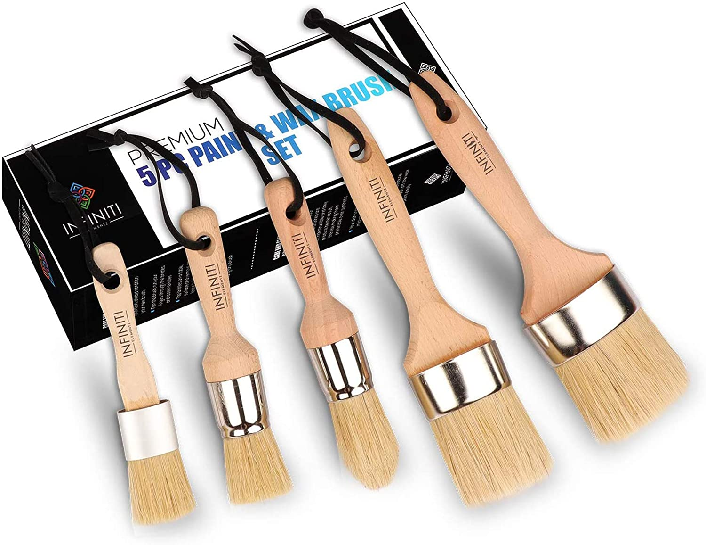 Professional Chalk and Wax Paint Brush 5PC Master Set