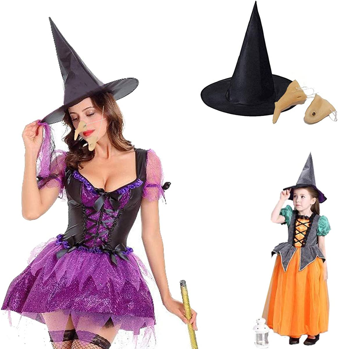 Halloween Girls Witches Hat Fancy Dress Costume Witch Outfit Kids Cosplay Party