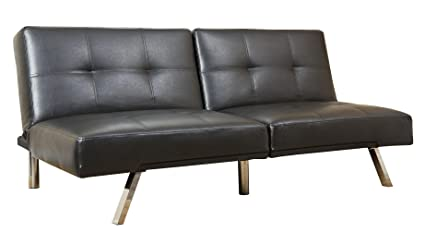Brilliant Abbyson Living Jakarta Leather Convertible Sofa In Black Onthecornerstone Fun Painted Chair Ideas Images Onthecornerstoneorg
