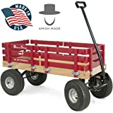 Red Wagon for Kids - Made In the USA - Hardwood & Reinforced Steel Body, Rubber Tires   No-Pinch Handle & No-Tip Steering   Berlin F410 Sport Wood Wagon