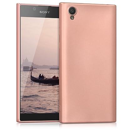 kwmobile Funda compatible con Sony Xperia L1 - Carcasa de TPU silicona - Protector trasero en oro rosa metalizado