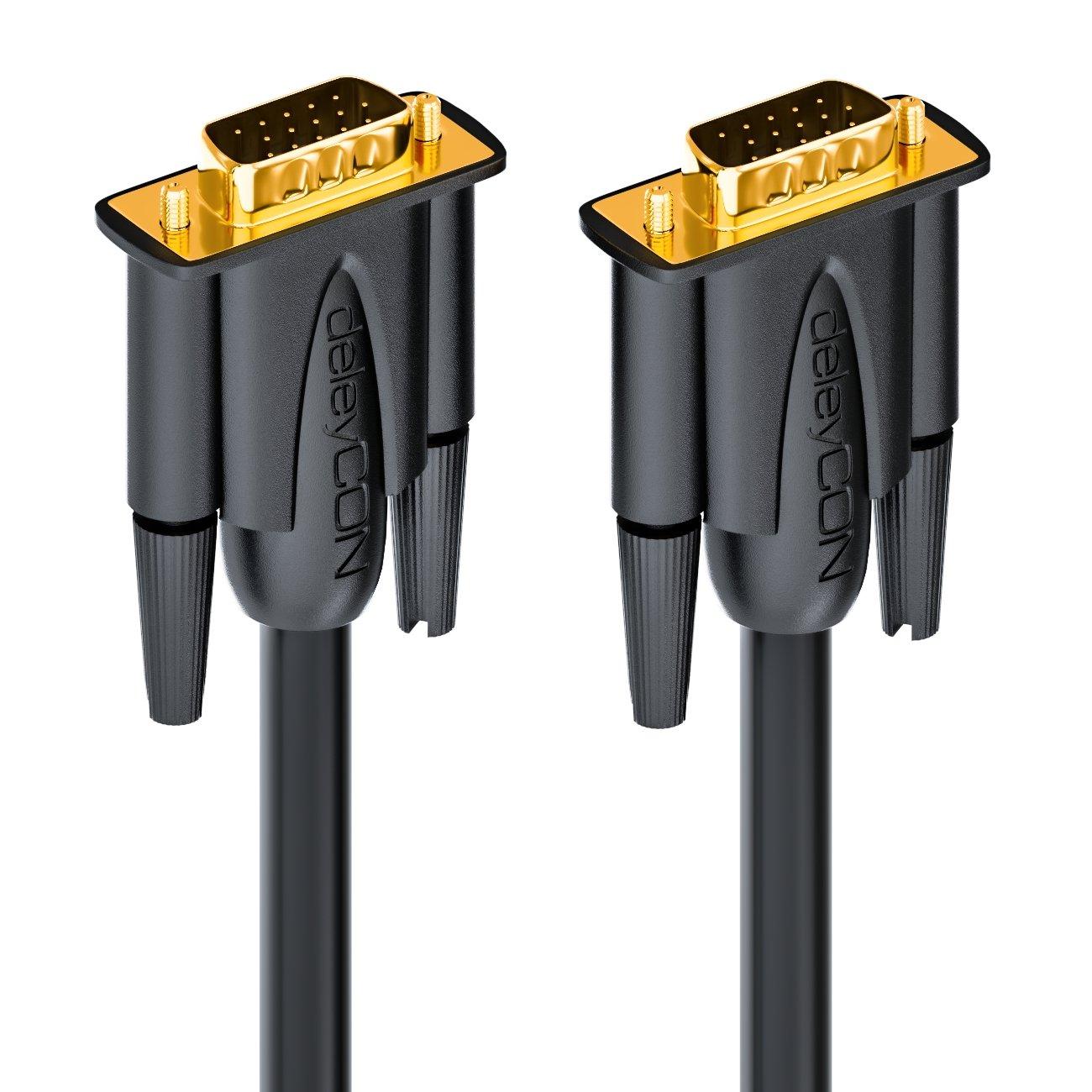 deleyCON 20m VGA Kabel 15pol S-VGA Monitorkabel D-Sub-Stecker 1080p Full HD 3-Fach geschirmt Knickschutz vergoldete Kontakte Schwarz