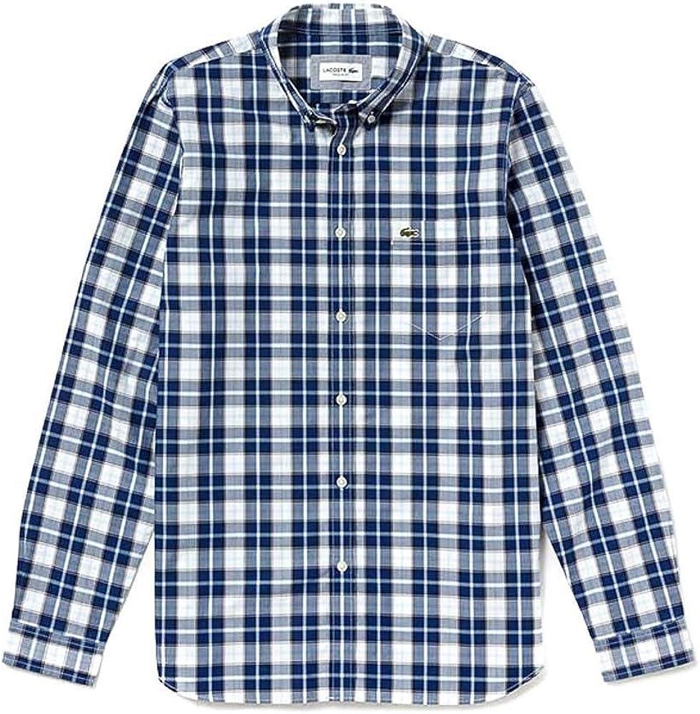Lacoste Camisa CH5946 Cuadros Azul Hombre 40 Azul: Amazon.es: Ropa y accesorios