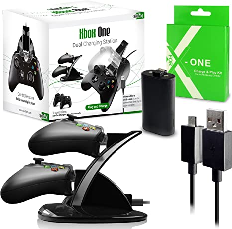 Twitfish® - Todo lo que necesita para Xbox One - 2 en 1 - Kit para recargar la