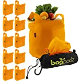 BagPodz Reusable Shopping Bags – Includes 10 Foldable Bags Inside a Compact Pod with Carry Clip – Super Strong Nylon Reusable