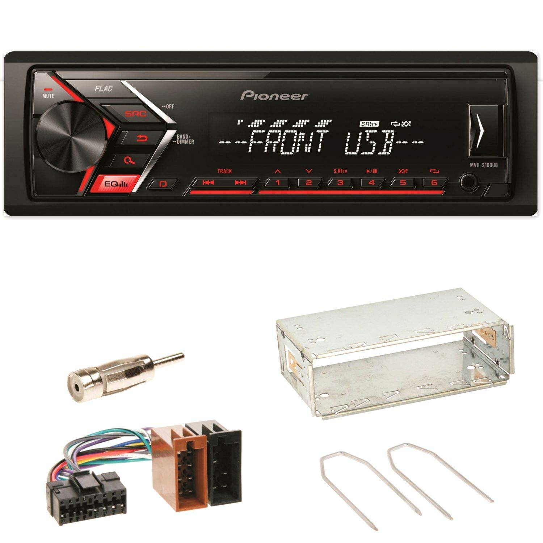Pioneer MVH-S100UB Autoradio USB AUX 1-DIN MP3 FLAC WMA Einbauset fü r Renault Clio 1 2 Twingo ACR-Bad Hersfeld 97645