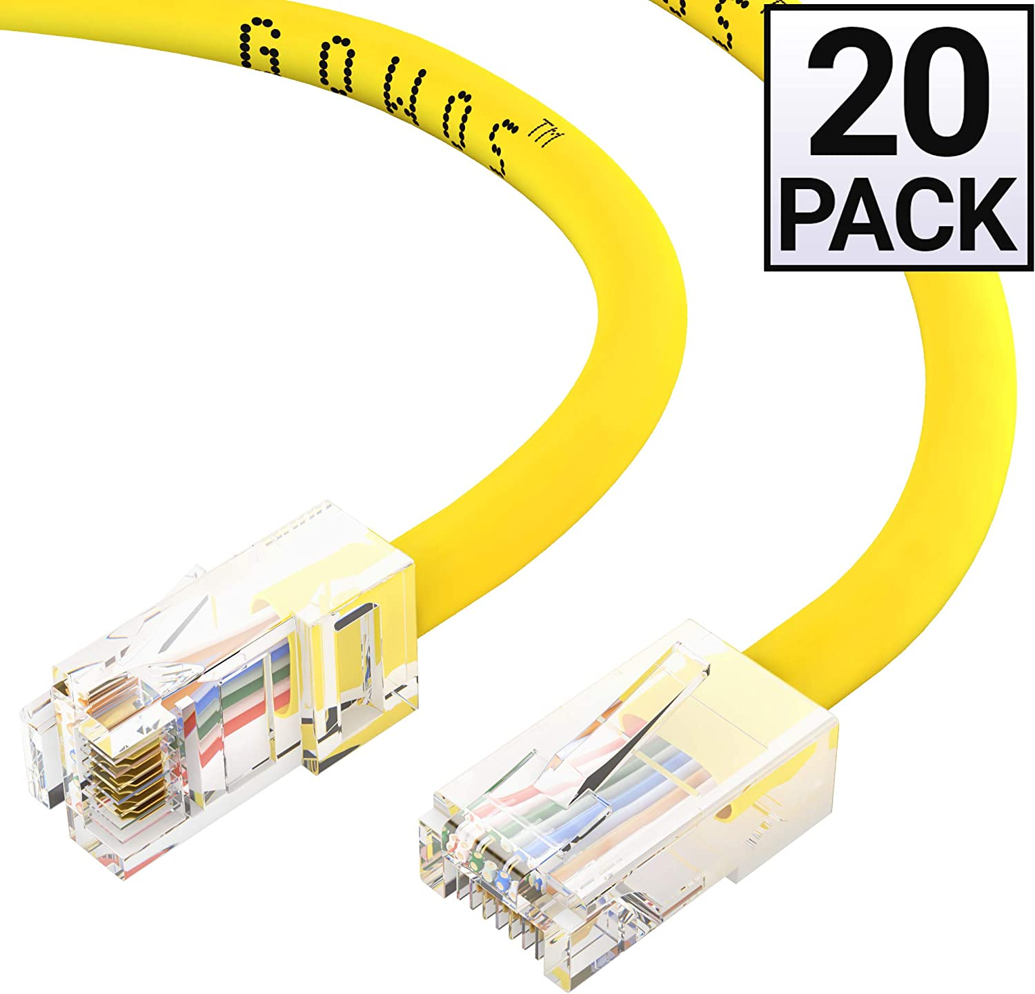 3 Feet - Orange Cat5e Ethernet Cable Computer Network Cable with Bootless Connector RJ45 10Gbps High Speed LAN Internet Patch Cord UTP GOWOS 20-Pack Available in 28 Lengths and 10 Colors