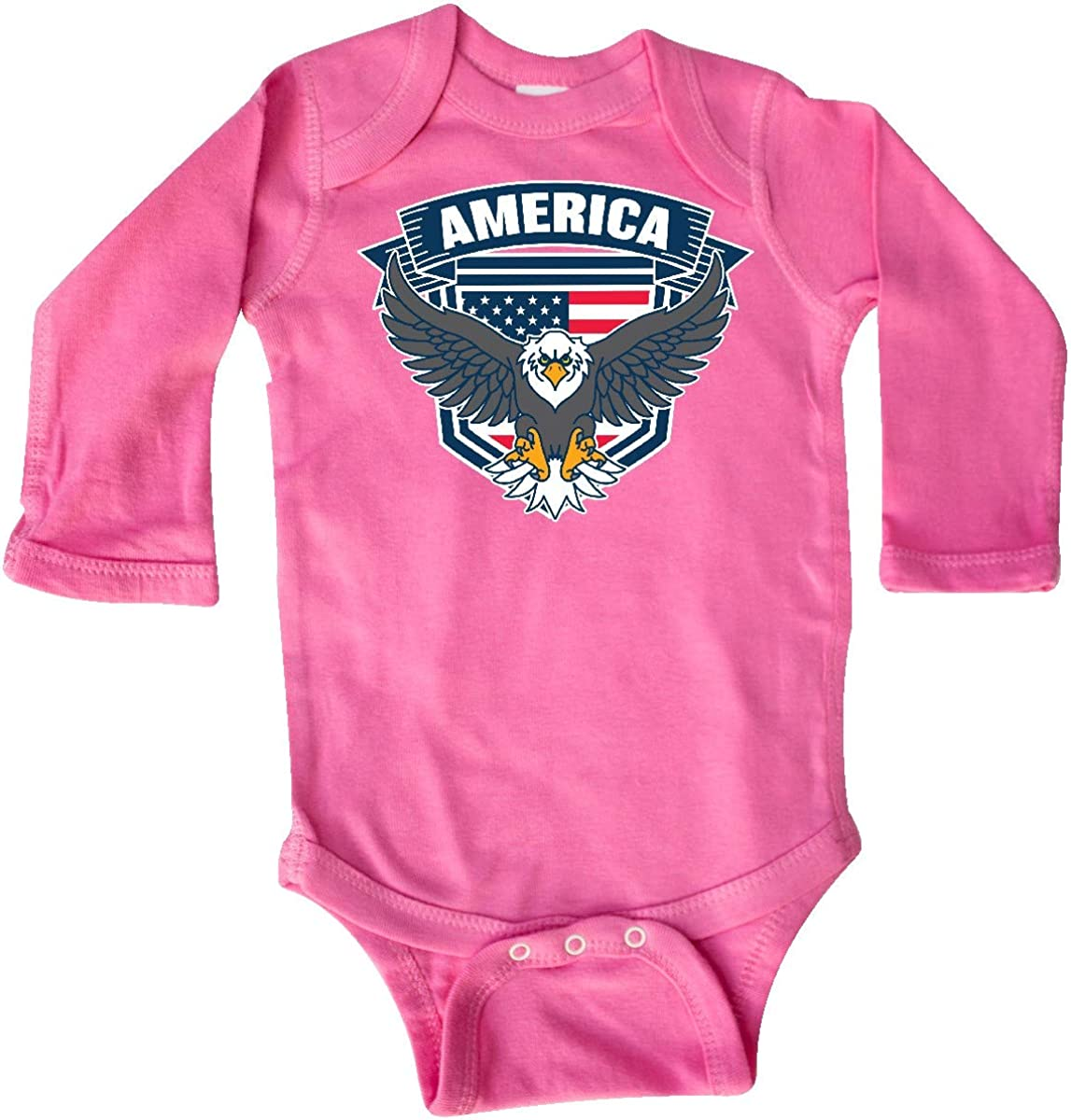 inktastic America with Eagle Shield and Banner Long Sleeve Creeper