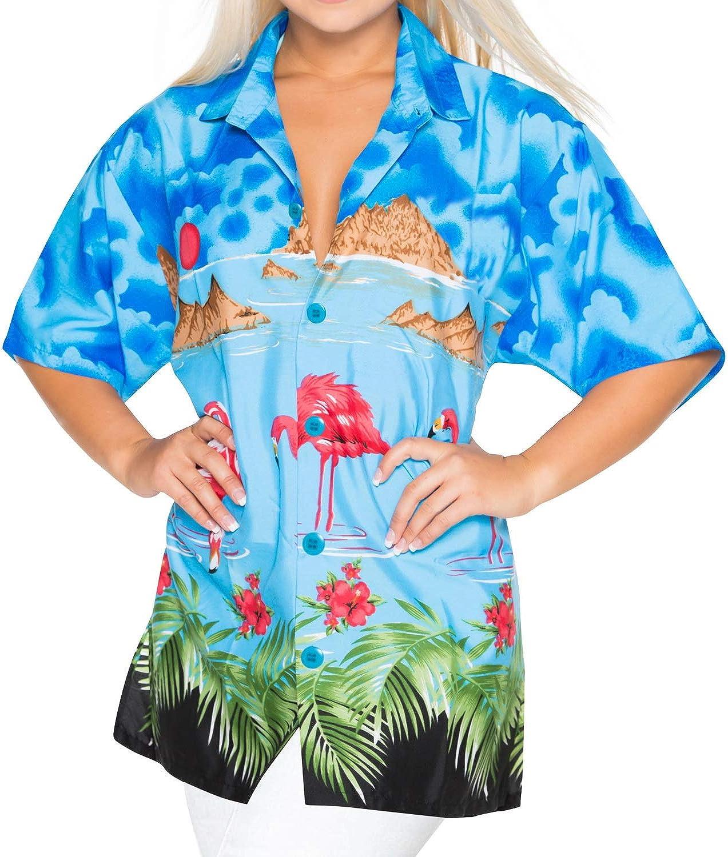 LA LEELA Likre Olas de la Isla del Sol botón Floral Flamenco Camisa con Mujeres Blue M: Amazon.es: Ropa y accesorios