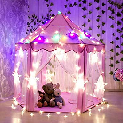 Princess Prince Tent Boys Girls Large Playhouse Kids Castle Play Tent for Children Indoor and Outdoor Games, 55'' x 53'' (DxH) iLook (pink): Toys & Games