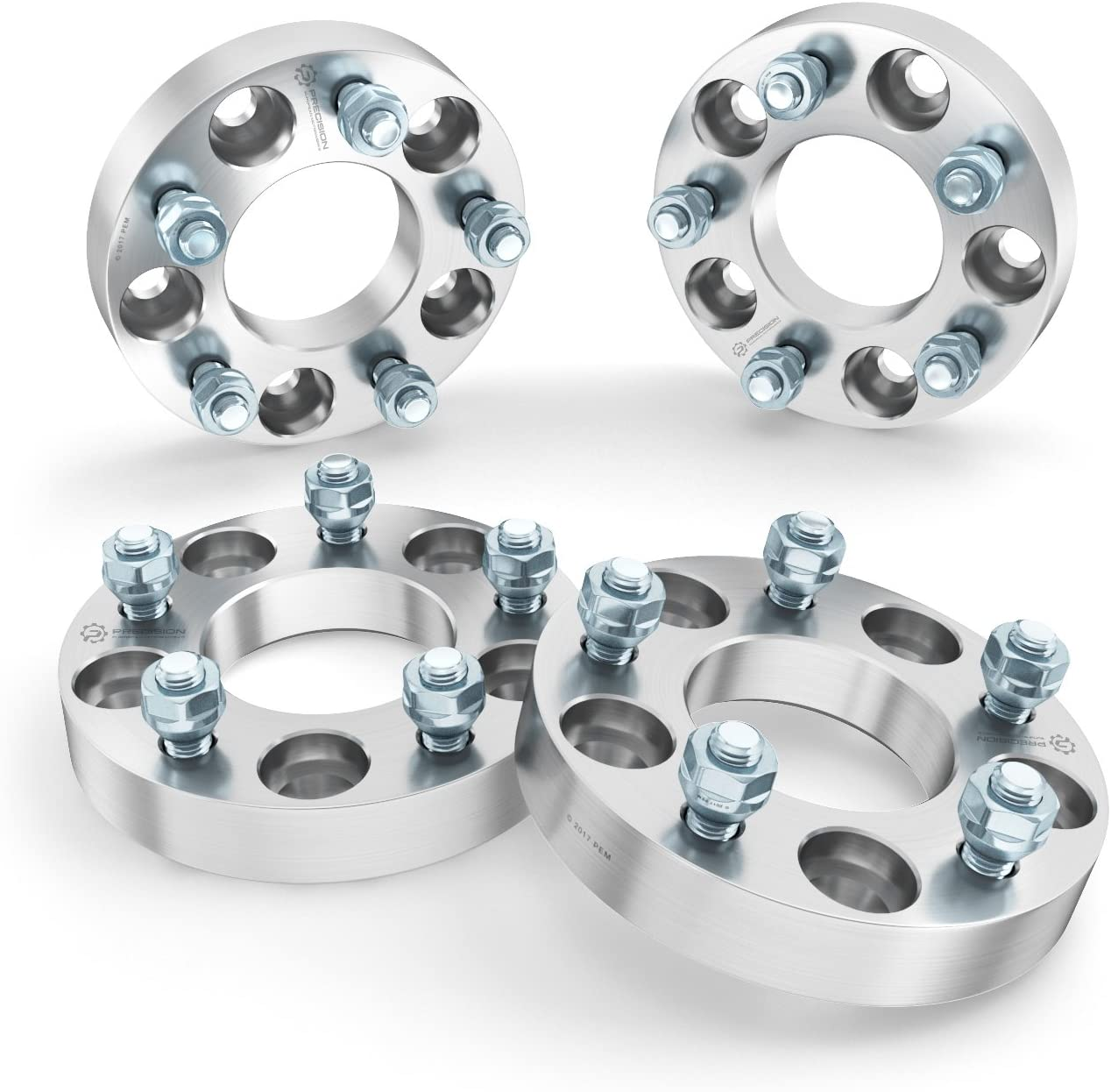 Changes Bolt Pattern 2pcs Silver RockTrix 32mm Thick Metric 12x1.5 Studs Nuts 1.25 inch Wheel Adapters Spacers 5x5 to 5x4.5 5x127 to 5x114.3 78.3mm Bore