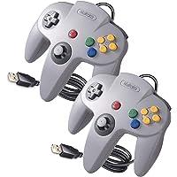 2 Pack Classic N64 USB Controller,kiwitatá Retro N64 Bit Wired PC Controller Gamepad for Windows PC Mac Linux RetroPie…