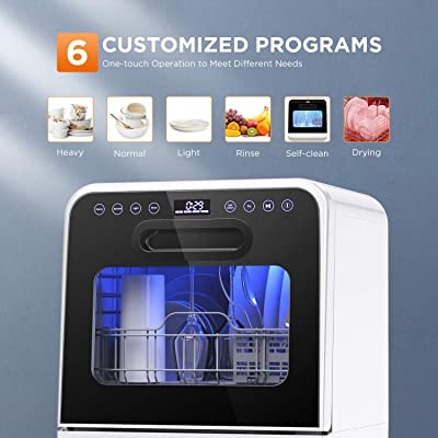 6 Customized Programs Baby Care Drying Function Fully Automatic Washer with 3 Place Settings No Hookups Needed Fruit Washing White CalmDo Portable Countertop Dishwasher XT601