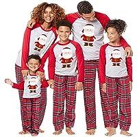beautyjourney Famiglia Pigiami Natale Pigiama Bambina Natale Maniche Lunghe Pigiama Donna Ragazze Due Pezzi Pigiama Uomo Costume di Natale Camicie da Notte Invernali