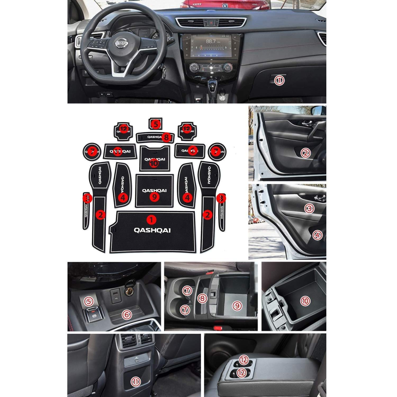 Sportello dauto Dado Anti Slip Pad Compatibile con Nissan Qashqai 2019 Car Interior Water Cup Storage Box Tappetino Antiscivolo in Gomma Tappetino Antiscivolo Mats