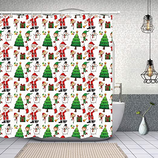 100/% Polyester Fabric Xmas Tree Fireplace Shower Curtain Liner Bathroom Hooks
