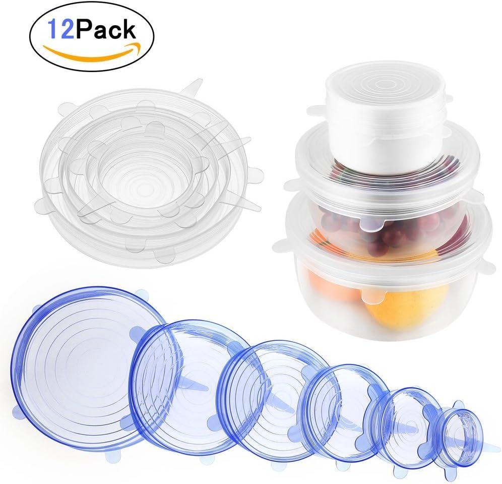 Silicona Stretch lids-hobfu 12 paquetes reutilizable, Durable y ...