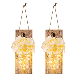 Chen Mason Jar Sconces with LED - Fairy Lights,Vintage Wrought Iron Hooks, Silk Hydrangea Flower and LED Strip Lights Design for Home Kitchen Decoration Set of 2