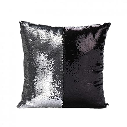 Buy Magideal Reversible Satin Sequin Sofa Waist Cushion Cover Bed