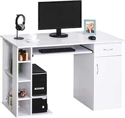 HOMCOM Mesa Escritorio para PC Mesa de Ordenador con Estantes Abiertos y baldas Ajustables Armario Soporte para CPU y Bandeja Extraíble 120x60x74 cm ...