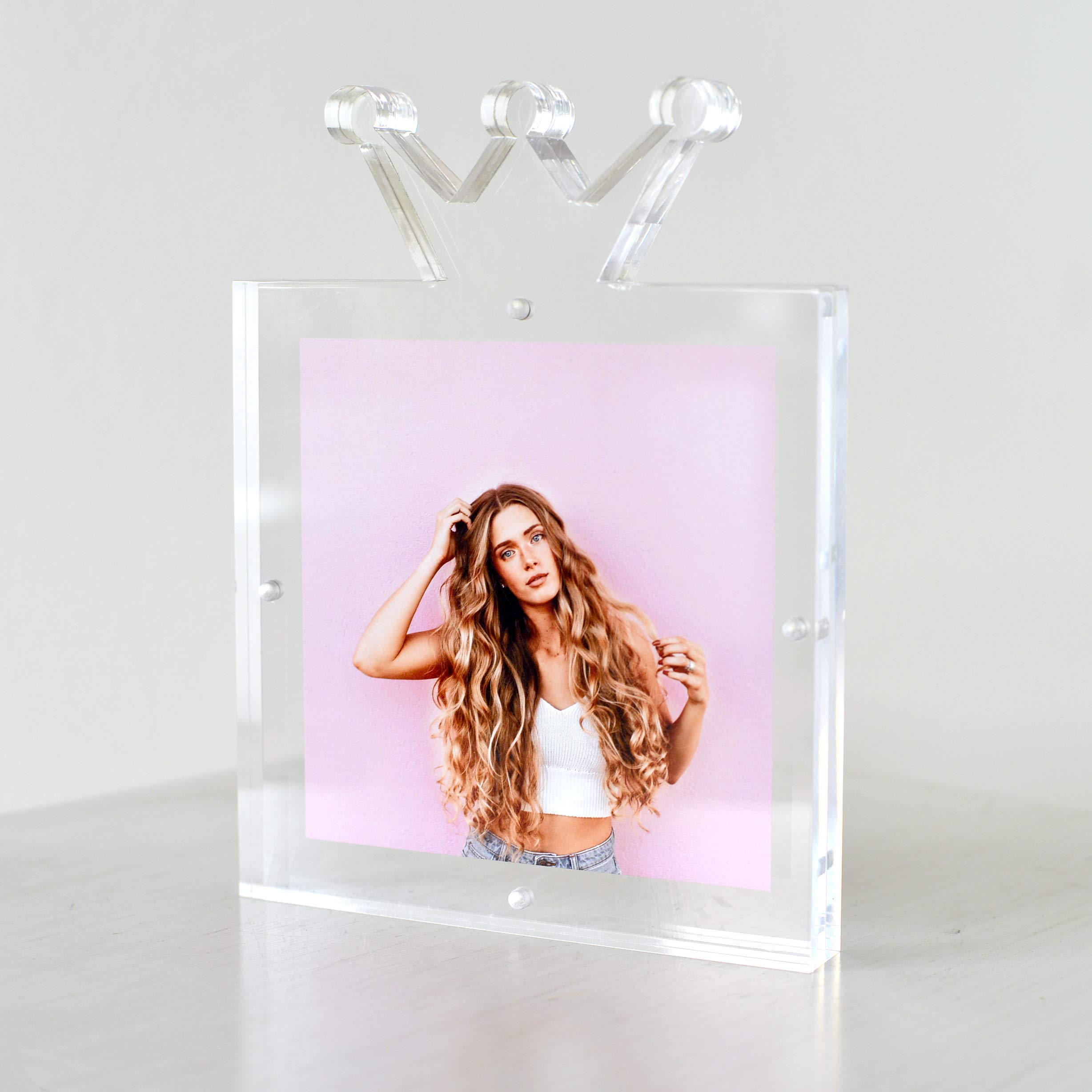 Acrylic Picture Frame, 6x6'' or 4x6'', Unique Crown Design, Crystal Clear, Premium Quality, Double Sided, Frameless, Floating Look, Elegant Box Packaging, 20mm Thick by TOVLIS