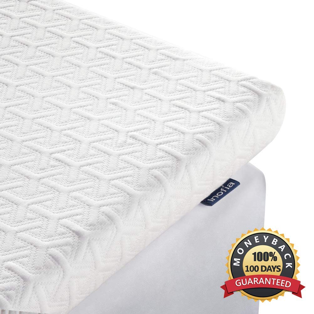 Inofia King Mattress Topper, 2.5-Inch Memory Foam Mattress Pad in Box, American Made Quality CertiPUR-US Foam, Double Bed Topper with Cooling Breathable & Removable Tencel Cover, King by Inofia