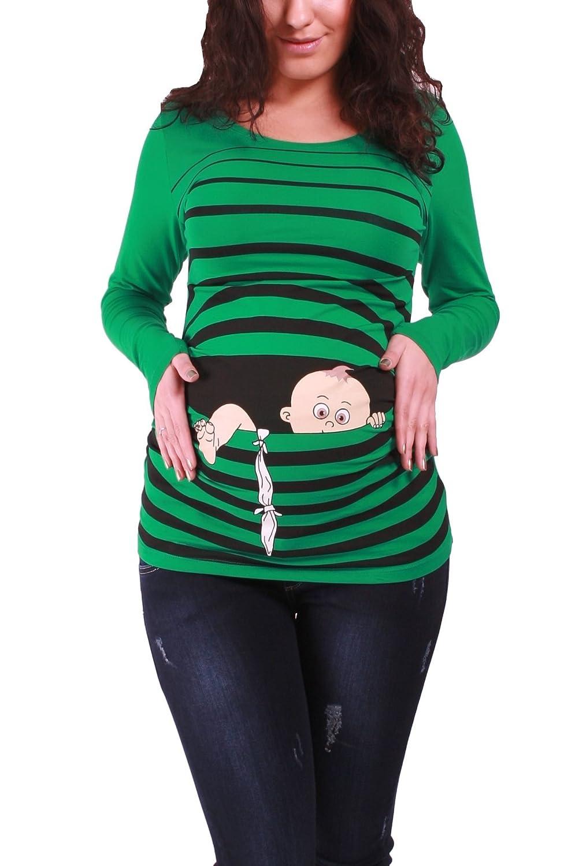 M.M.C. Bébé en Fuite - Vêtement de maternité Mignon Et Rigolo | T-Shirt de maternité Avec Motif pour la Grossesse | T-Shirt de Grossesse - à Manches Longues