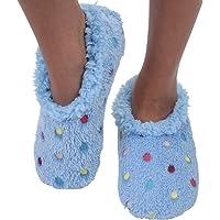Snoozies Womens Slipper Socks - Lotsa Dots - Cozy Slippers for Women - Warm Fuzzy House Slippers for Indoor Use