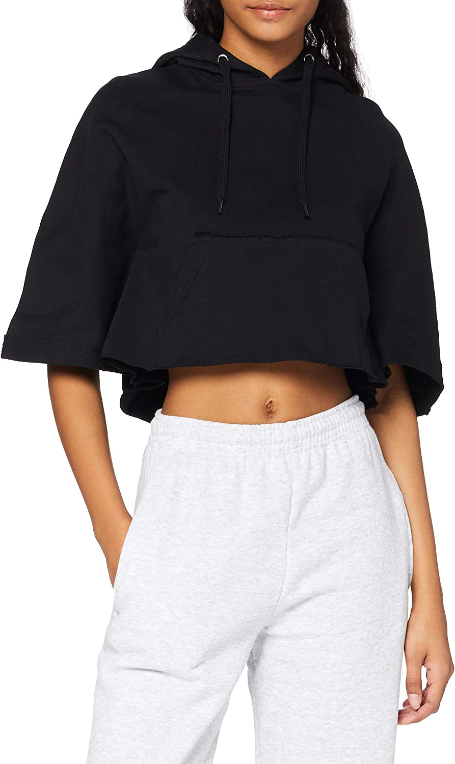 Urban Classics ! Super beauty product restock quality top! Regular dealer Ladies - Poncho Hooded CROPPED