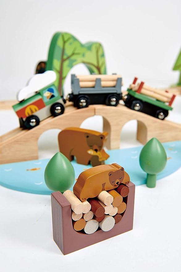 en bo/îte 9,1x9,1x20,2cm avec 7 pi/èces en Bois 18m+ Tender Leaf Toys Premier /Âge: EMPILEUR Sapin 9x9x18,5cm