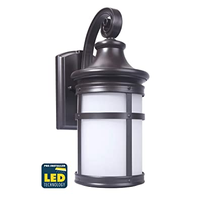 CORAMDEO Outdoor Round Misson-Style Wall Mount Lantern, Built-in LED to Last Over 22 Years, Easy to Install Outside Light Fixture for House Exteriors, Garages & Wet Locations, Bronze Finish, Large