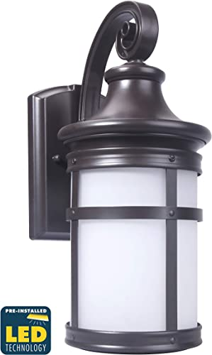 CORAMDEO Outdoor Round Misson-Style Wall Mount Lantern, Built-in LED to Last Over 22 Years, Easy to Install Outside Light Fixture for House Exteriors, Garages Wet Locations, Bronze Finish, Large