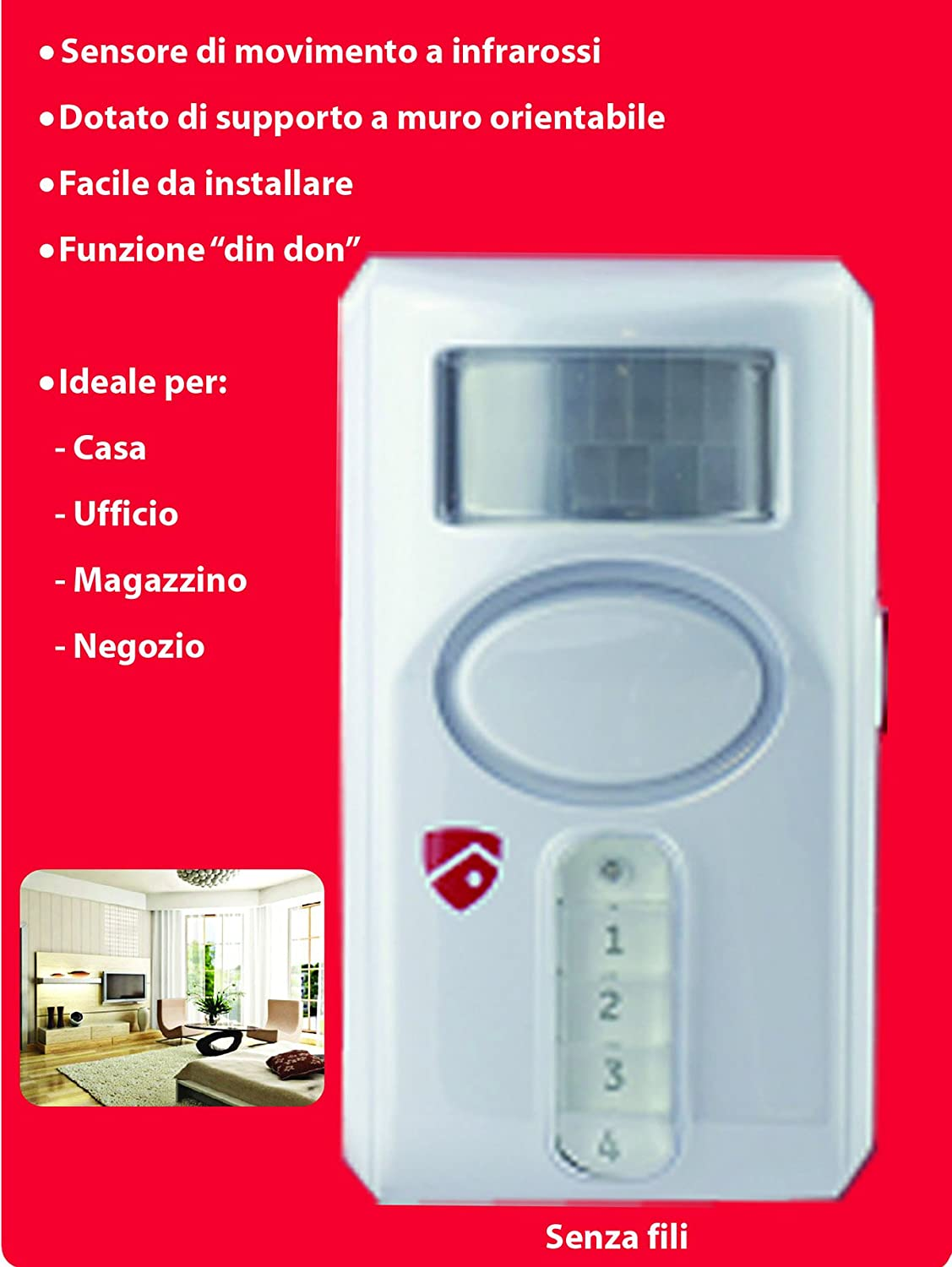 Alarma con detector de movimiento y sirena integrada: Amazon ...
