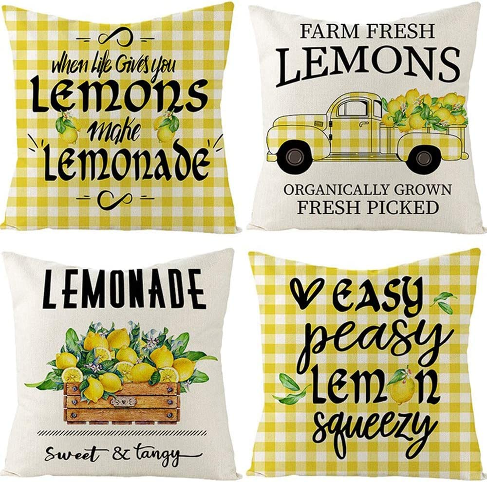 UBING Summer Pillow Covers 18x 18 Set of 4, Lemon Decor Yellow Throw Pillow Covers Buffalo Check Farmhouse Pillowcase for Home Party Couch Sofa Patio Porch Living Room Summer Decorations