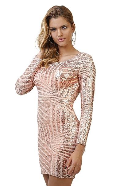 Infinie Passion – lentejuelas – vestido de fiesta rosa Dorado dorado