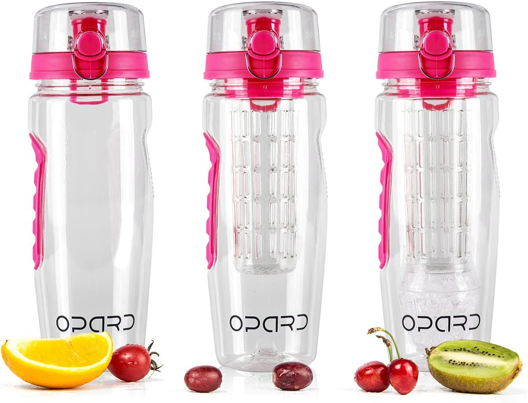 Opard Fruit Infused Water Bottles 1 Litre Sports Flip-Top Lid Tritan 100/% BPA Free Fruit Infuser Drinking Bottles with Detachable Ice Gel Ball /& Time Markings