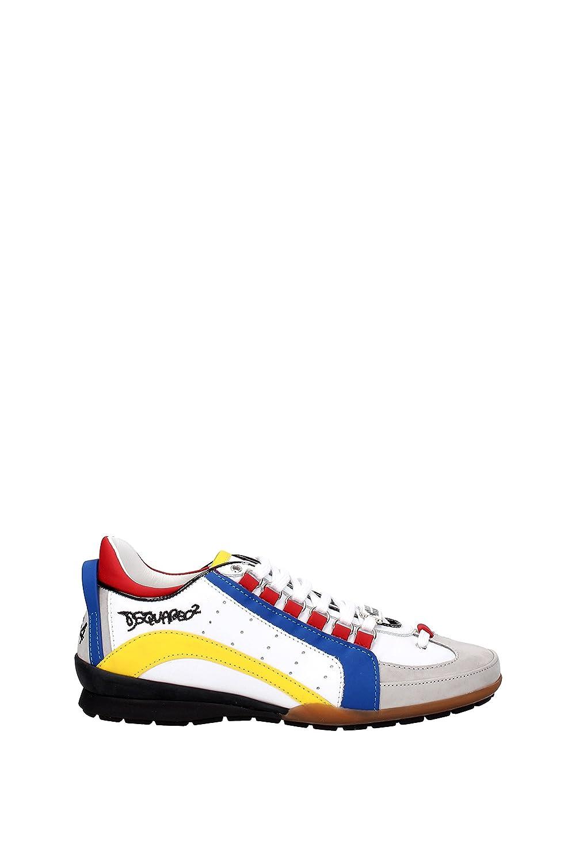 DSQUARED - Zapatillas de Piel para hombre blanco BIANCO + GIALLO + BLU + ROSSO + GRIGIO blanco Size: 42.5 EU - 8.5 UK: Amazon.es: Zapatos y complementos