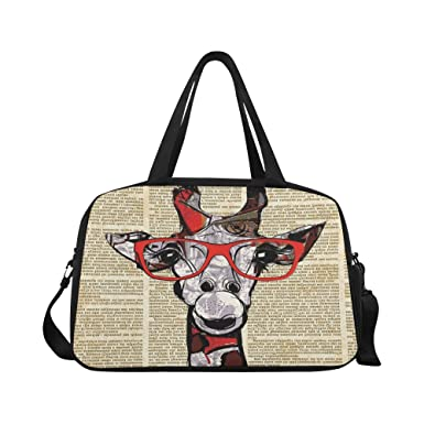 InterestPrint Funny Giraffe Duffel Bag Travel Tote Bag Handbag Luggage 04f5da70bfb