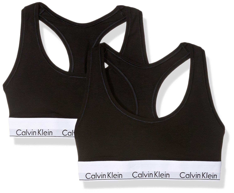 Calvin KleinレディースModern Cotton Bralette B06XD8QBPN Medium ブラック/ブラック 2 ブラック/ブラック Medium