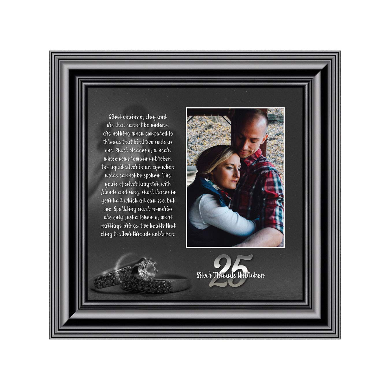 Silver Threads Unbroken 10x10 6303BW Personalized 25 Anniversary Picture Frame