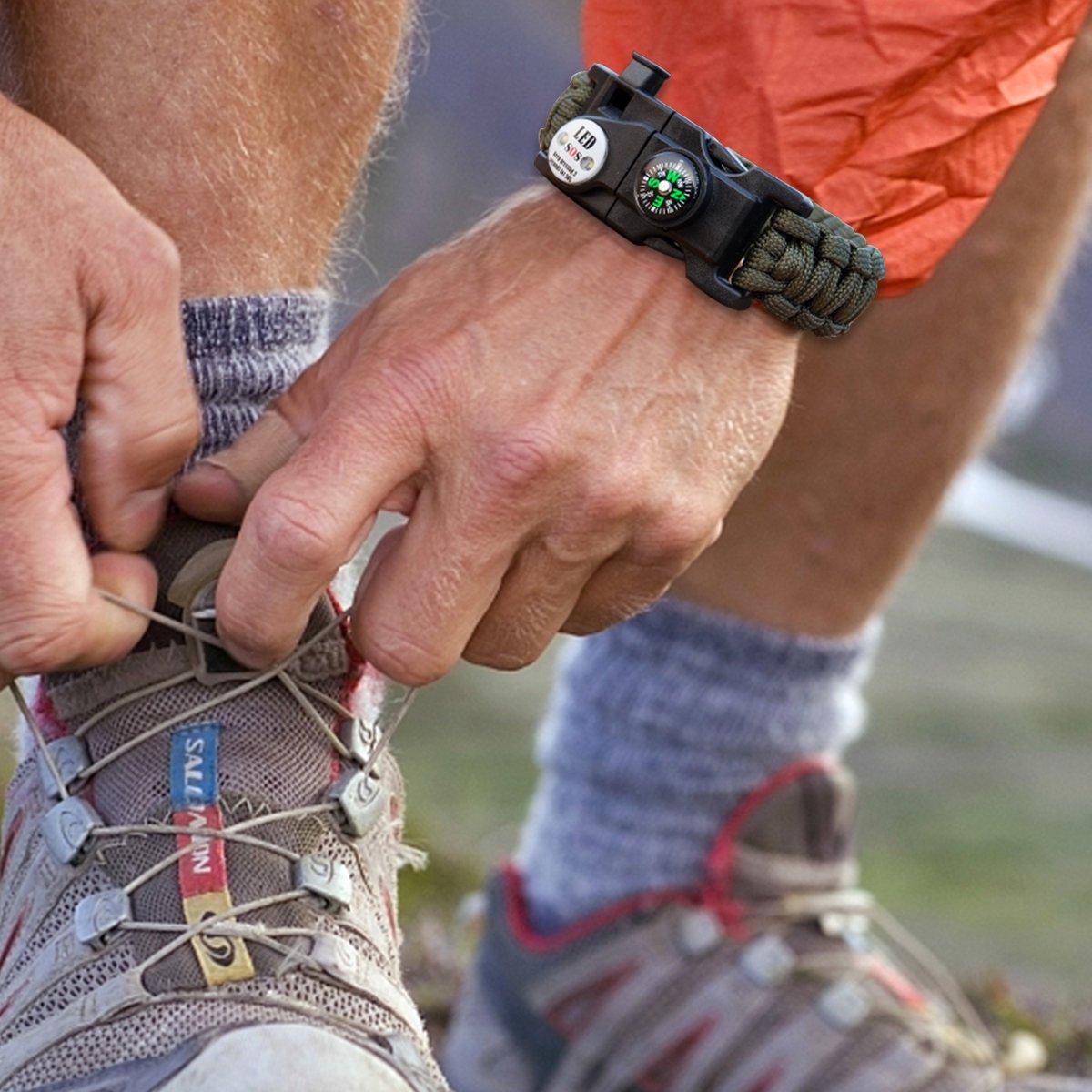 Notfall-Trillerpfeife bermunavy Fallschirmseil-Armband Kompass Survival-Armb/änder f/ür Notfallsituationen Feueranz/ünder, gr/ün und Mini-Multitool 2er Pack Survival SOS-LED-Licht