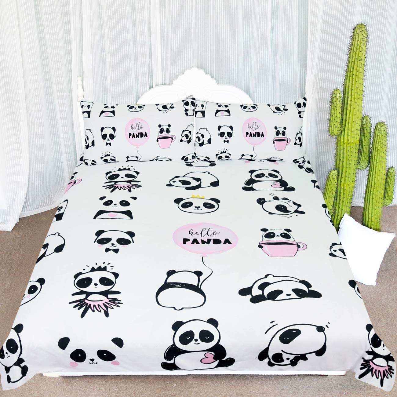 Pandas Print Brown Quilt Cover Pillow Case Christmas Gift for Kids Bedding Set