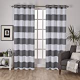"Exclusive Home Surfside Cotton Cabana Stripe Grommet Top Window Curtain Panels (Set of 2), 54 x 84"", Black Pearl"
