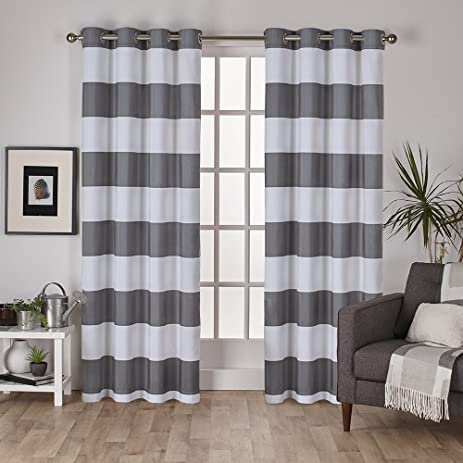 Exclusive Home Curtains Surfside Cotton Cabana Stripe Grommet Top Window  Curtain Panel Pair, Black Pearl
