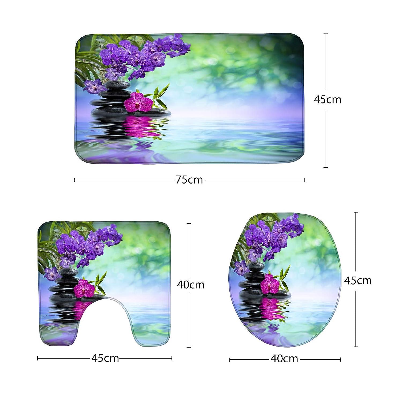 Amagical Zen Garden Theme Decor Bamboo Purple Flower and Black Stone Decor 3 Piece Bathroom Mat Set Bath Mat Contour Mat Toilet Cover