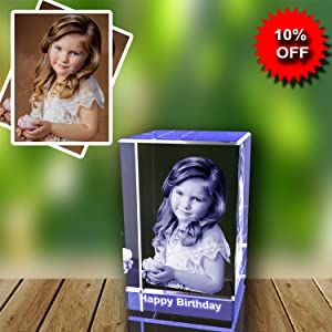 Personalized Custom 3D Holographic Photo Etched Engraved Inside The Crystal with Your Own Picture (Birthday, Wedding Gift, Memorial, Mother's Day,Valentine's,Christmas)